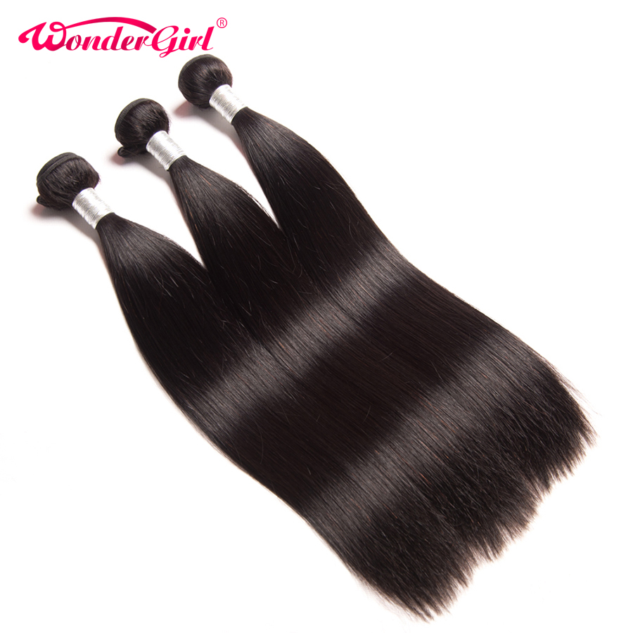 Wonder Girl Straight Hair Bundles 100% Human Hair Can Be Dyed Peruvian Hair Bundles No Shedding Remy Hair Extension Hair Extensions & Wigs