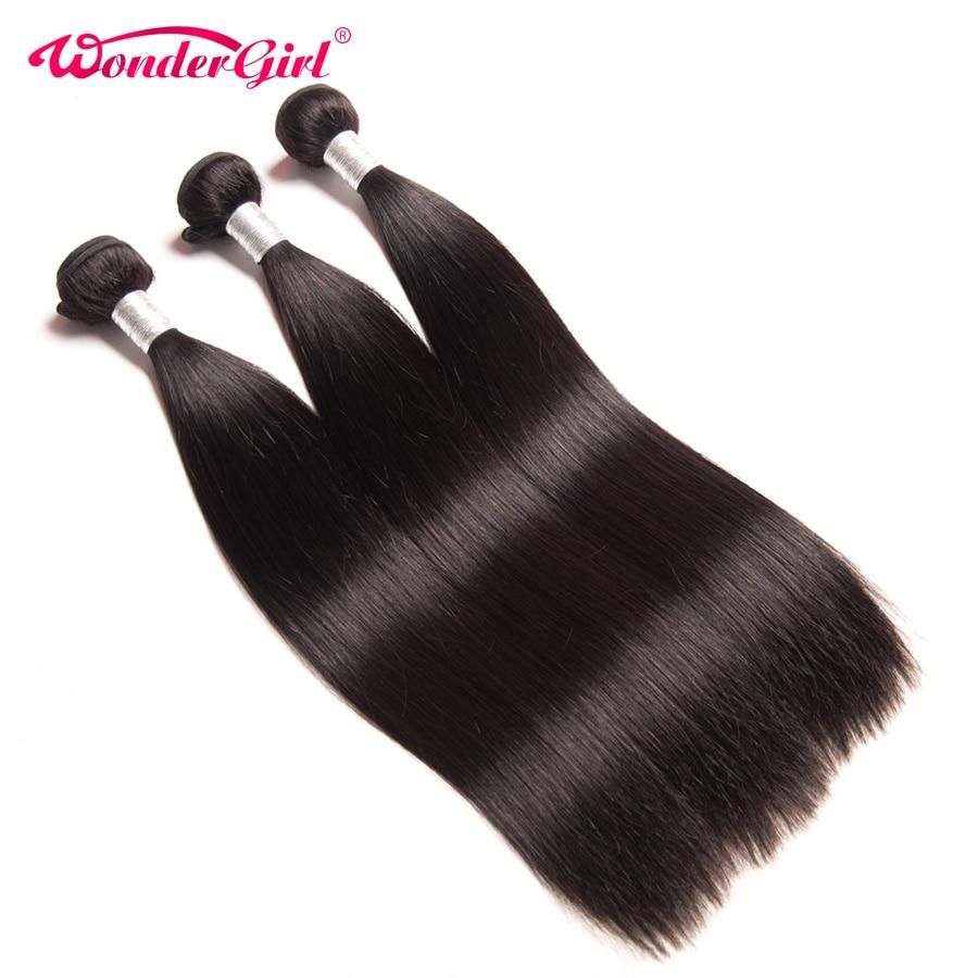 Wonder girl gerade brasilianisches haar spinnt 100% menschenhaar bündelt remy haarverlängerung kaufen 3/4 bündel kann gefärbt werden