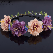 CXADDITIONS Bridal Floral Crown Hair Wreath Breath Dried European Style Peony Flower Woodland Hairpiece Natural Wedding Rustic