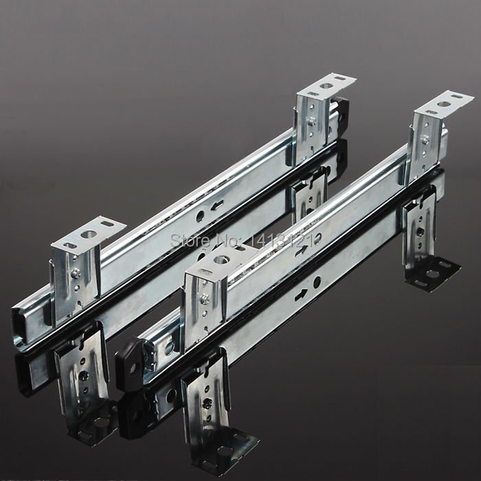 free shipping muted slides furniture hardware 35mm rail computer desk slide Keyboard drawer track ball lifting bottom bracket section three track rail drawer slide rails 3 row ball bearing linear guides thicker