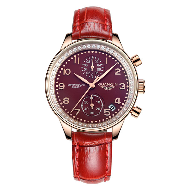 GUANQIN GQ15008 lady Chronograph series quartz watch women fashion luxury watch female  Austria Diamond red Leather strap
