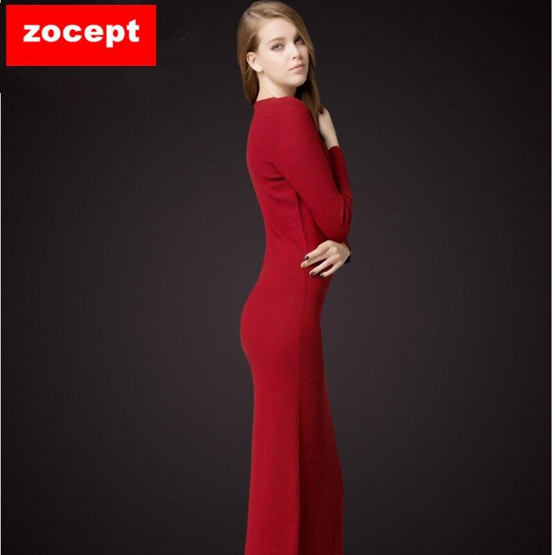 5af44c2cb Zocept الفساتين الصلبة كاملة كم الخامس عنق ألف خط منتصف العجل الناعمة  الكشمير محبوك الدافئة الخريف الشتاء الإناث ضئيلة فستان طويل