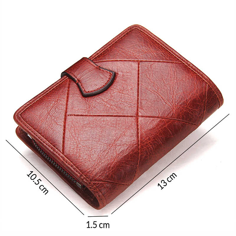 موضة محفظة صغيرة النساء الإناث جلد طبيعي سستة غلق بمشبك تصميم محفظة للعملة حامل بطاقة محافظ للنساء
