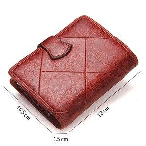 Image 2 - Contacts fashion cartera pequeña de piel auténtica con cremallera para mujer, mini monedero con diseño de cerrojo, tarjetero