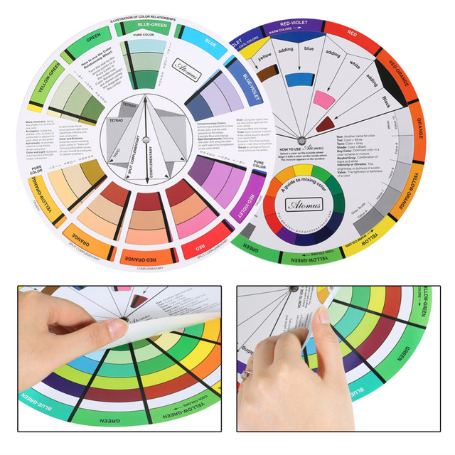 mix guide round tattoo nail polish gel pigment color palette wheel paper  card for eyebrow lip