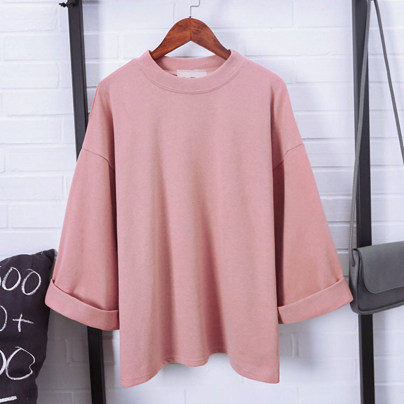 Women 3/4 Sleeves T-shirt Oversize Loose Round Neck Korean WOmen Casual T Shirts Autumn Basic Tops  XRQ88