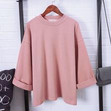 купить Women 3/4 Sleeves T-shirt Oversize Loose Round Neck Korean WOmen Casual T shirts Autumn Basic Tops  XRQ88 дешево