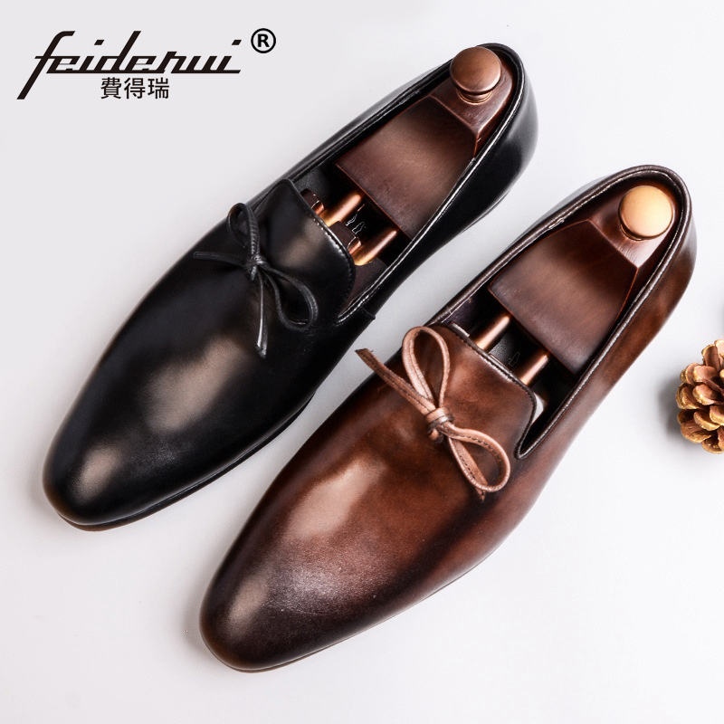 New Vintage Man Moccasin Casual Shoes Genuine Leather Business Office Loafers Round Toe Slip on Handmade Men's Soft Flats SS315 handmade women loafers round toe genuine leather flats female soft moccasin gommino breathable boat shoes chaussure xk052506