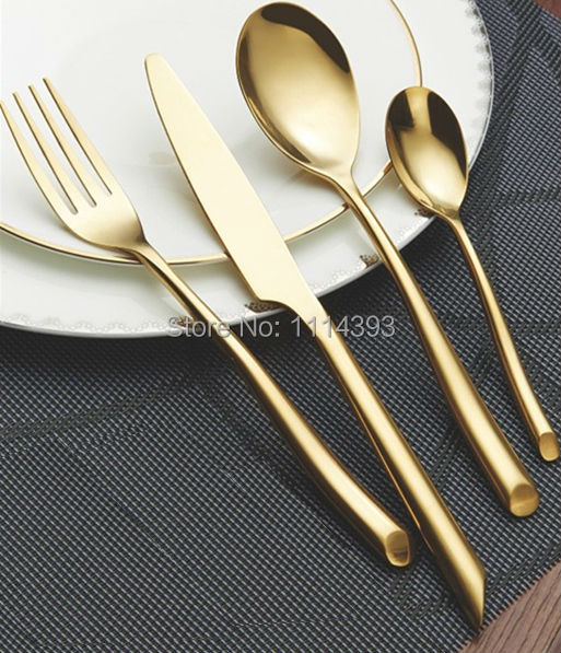 1329G GOLD Forged Stainless Steel Cutlery Set 24pcs Golden Plating Titanium  / Colored Flatware Set Of