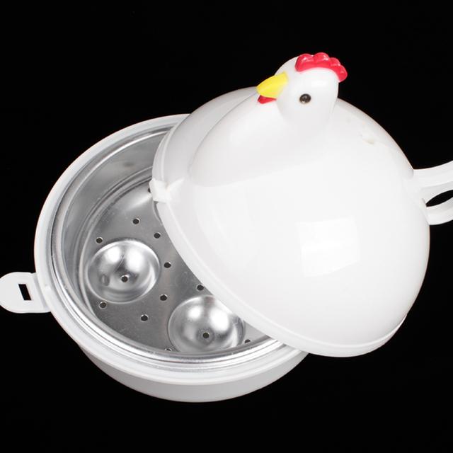 LSTACHi Kitchen Eggs Steamer Chicken Shaped Microwave 4 Egg Boiler Cooker Novelty Kitchen Cooking Appliances Steamer Home Tool