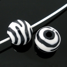 200Pcs Zebra Striped White & Black Round Acrylic Spacer Beads Perles Perlas DIY Jewelry Findings 12mm