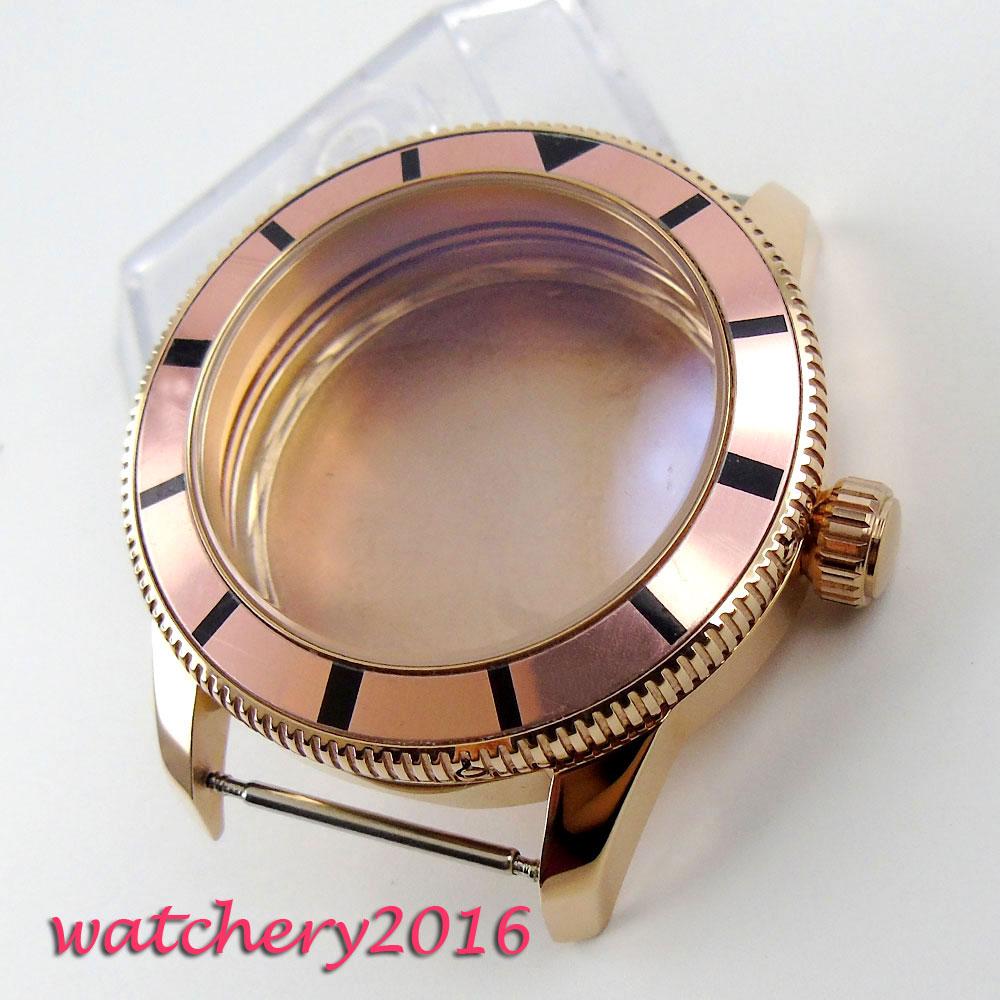 все цены на 46mm PARNIS alloy Rotating bezel golden plated Watch Case fit ETA 2824 2836 MOVEMENT онлайн