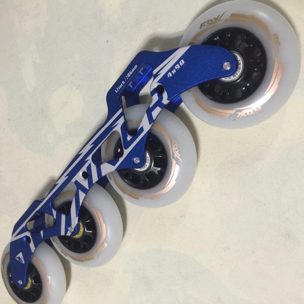 Prix pour 7005 En alliage D'aluminium CADRE de Patin à roulettes de Vitesse en ligne 4X90mm 12 pouces (305mm) de roller racks profession rouleau Lame cadre titulaire