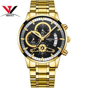 Image 3 - [Ship From Brazil] Relogio Masculino Dourado Men Watch 2018 Luxury Brand Waterproof Analog Quartz Watch For Men Original NIBOSI