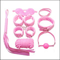 Fun Adult Game 7pieces Pink BDSM Bondage Restraints Set Kit Ball Gag Cuff Whip Collar Fetish Sex Toy Sets Leather Bondage Collar