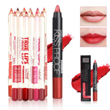 Hot sale 12 Pcs Eye Liner Pencil with 1 Lipstick Set Lip Pencils Waterproof Cosmetics Long Lasting