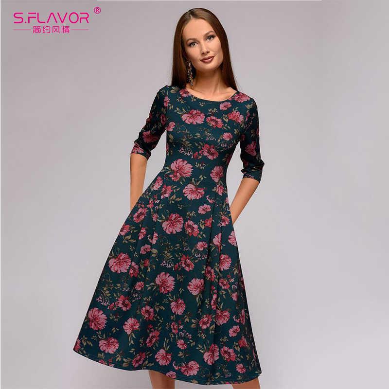 S. FLAVOR/винтажное платье с цветочным принтом и круглым вырезом, женское Повседневное платье трапециевидной формы с коротким рукавом, весенне-осеннее модное женское платье