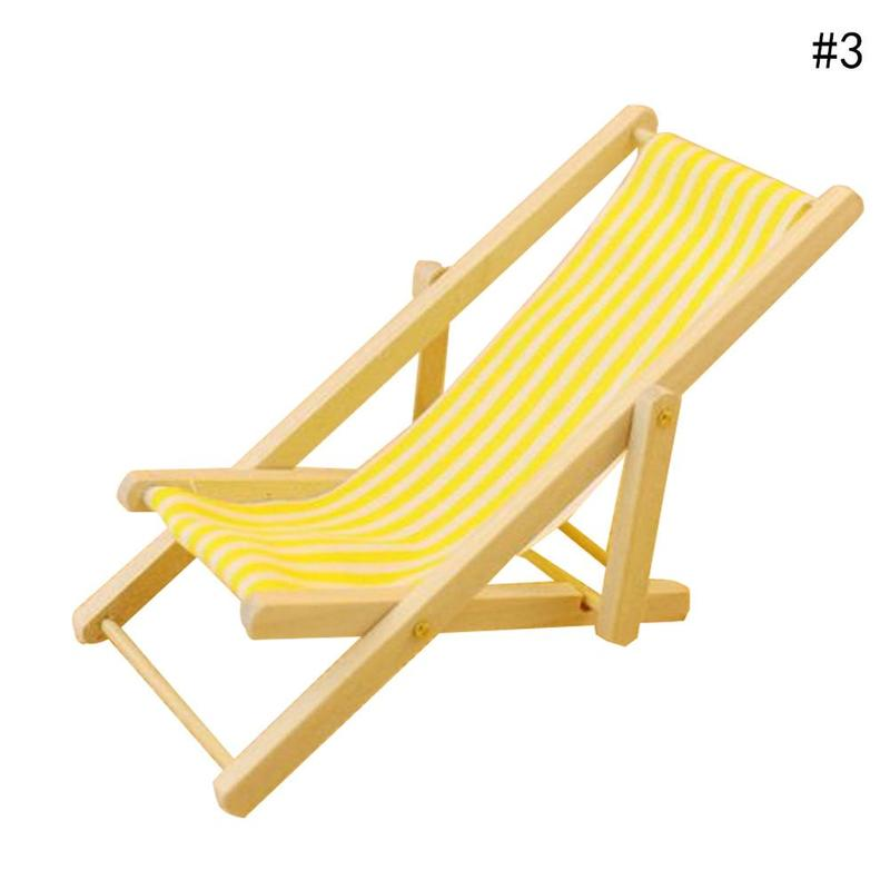Dongzhur Mini Beach Chair Red/blue/yellow Striped 1:12 Dollhouse Wooden  Doll House Practical Cute Outdoor Loungers Beach Chair In Doll Houses From  Toys ...