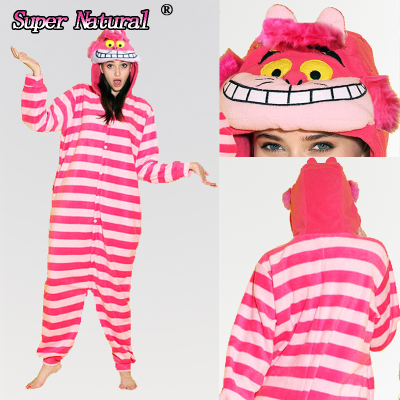 Cheap DHL Boy Girls Adult Winter High Quality Flannel Animal Cheshire Cat Halloween Pajamas Pjs Onesies Cosplay Kigurumi Pyjamas