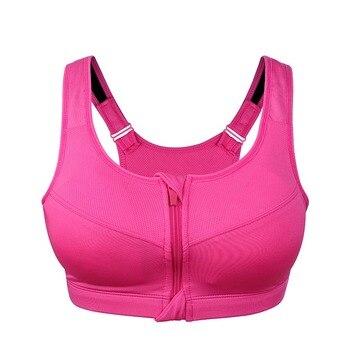 WANAYOU XXL XXXL XXXXL Pus Size Women Zipper Sports Bras,Quick Dry Shockproof Yoga Fitness Bras,Sport Tops Running Gym Vest