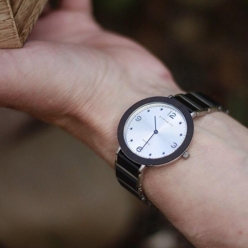 BOBO pájaro de madera Acero inoxidable relojes de mujer 6mm ultrafino impermeable Japón cuarzo hombres reloj grandes regalos - 3