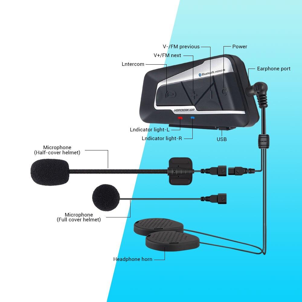 HEROBIKER 1200 M Bluetooth Interphone Moto casque Interphone casque étanche sans fil Bluetooth Moto casque Interphone - 5
