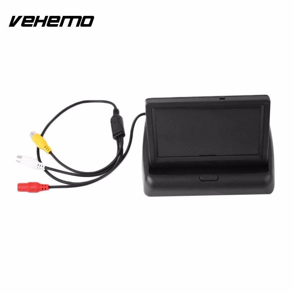 Vehemo 4.3 inch HD Foldable Waterproof Car Rear View Monitor Reversing Color LCD Display Screen for Truck Vehicle Rearview Came