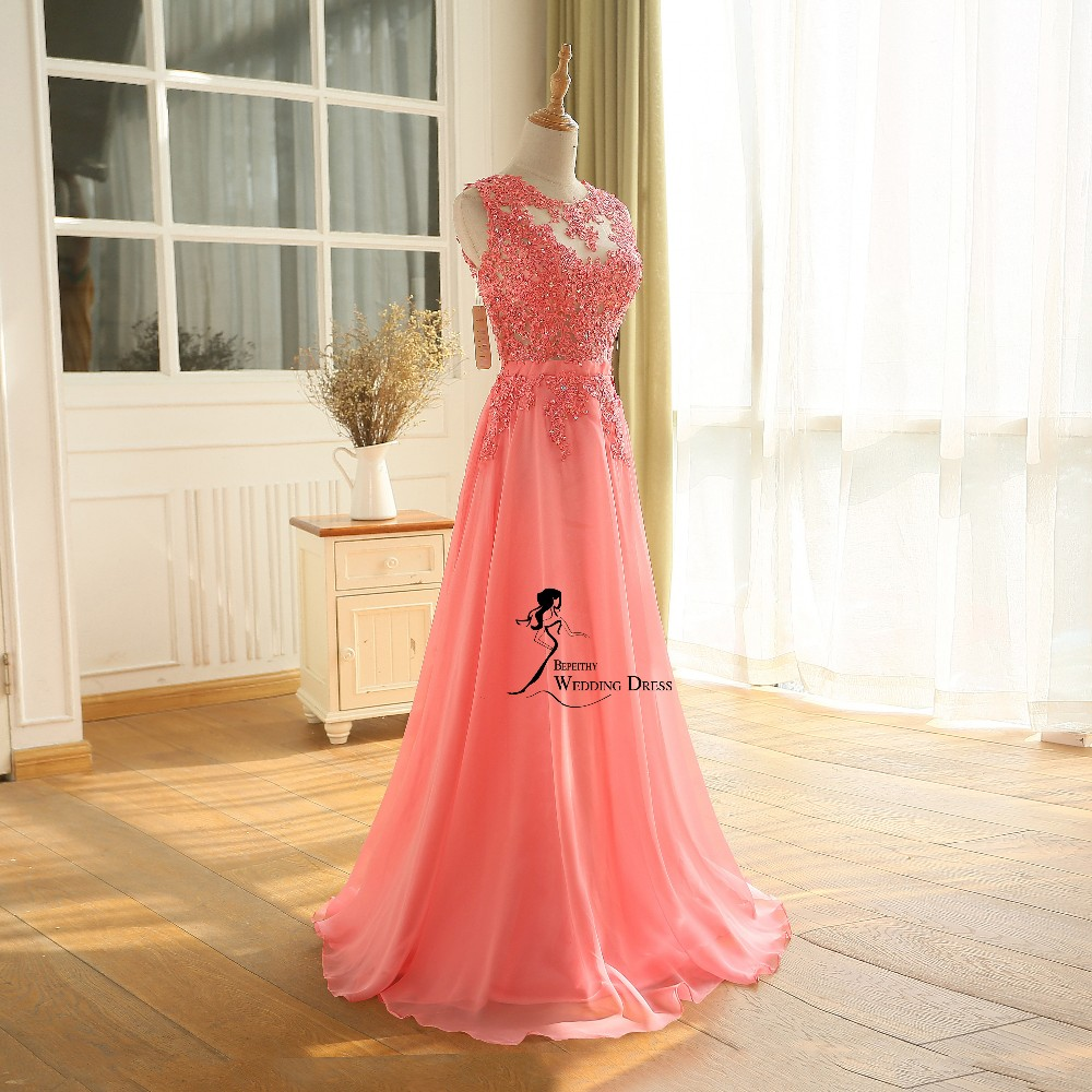 New Arrival Robe De Soiree A line Pink Chiffon Long Evening Dress Party Elegant Sexy Sheer Back Real Image Sleeveless Prom Gown 2016 (26)