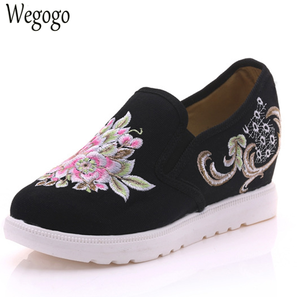 Wegogo Women Pumps Embroidery Floral Shoes Casual Canvas Loafers Slip On Cotton Cloth Platform Shoes Zapatos Mujer Plus Size 41 vintage embroidery women flats chinese floral canvas embroidered shoes national old beijing cloth single dance soft flats