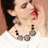 Niebieski Ptak Łzy biżuteria Elegancki, luksusowy sequined kwiat naszyjnik naszyjnik kobiety naszyjnik i wieszak