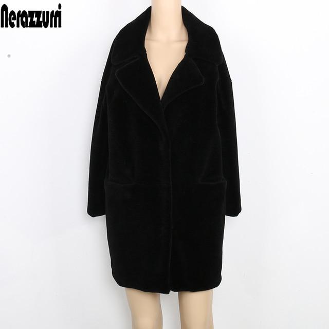 Nerazzurri/женское зимнее шерстяное пальто с открытыми плечами, Длинная Верхняя одежда черного цвета, Женская шерстяная куртка-кокон, большие размеры 5XL 6XL