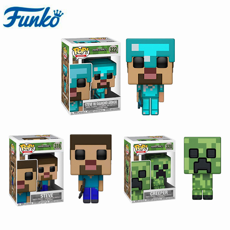 Funko Pop Anime Game Minecraft-CREEPER STEVE #322 STEVE IN DIAMOND ARMOR Action Figure Model Toys Collection Children Gifts