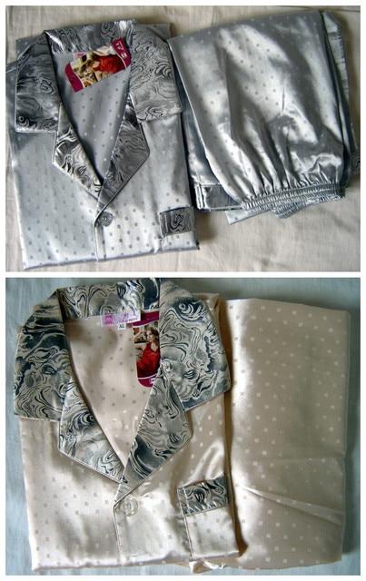 Бесплатная поставка Китайских людей Silk Район 2 шт. Ночное Одеяние пижамы пижамы Наборы Ванна Платье Sml XL XXL XXXL ZS003