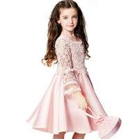 新しい高-グレード花レース大きな弓ガールウェディングパーティーパフォーマンス衣装子供ブランド服女の子ドレスピン
