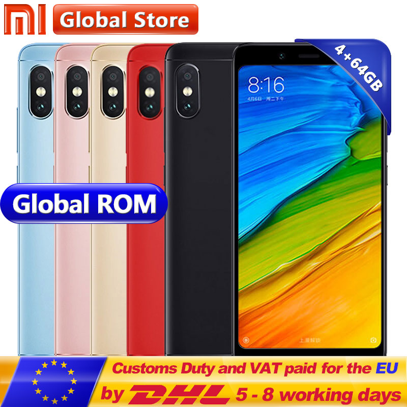 "Original Xiaomi Redmi Note 5 4gb Ram 64gb Rom Snapdragon S636 Octa Core Mobile Phone Miui9 5.99"" 2160*1080 4000mah 12.0+5.0mp"