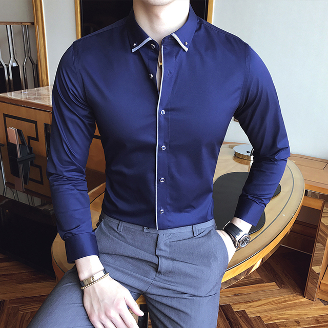 Man Shirts High Quality White Mens Office Blue Business Camisa Masculina Social Slim Fit