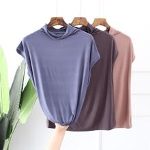 high stretch women fashion solid sleeveless T-shirt Office OL Style summer Tops Tees cotton turtleneck Slim t shirt