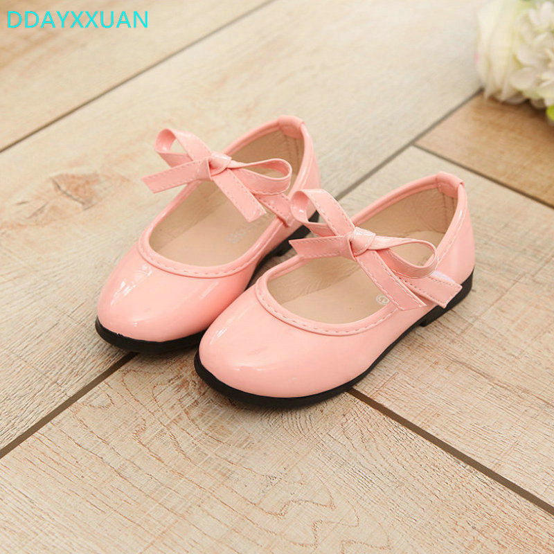 PU Leather Bow Kids Shoes 2018 New Spring Bowknow Girl Princess Party Wedding Dance Baby Girl Shoes For Children Brand Shoes