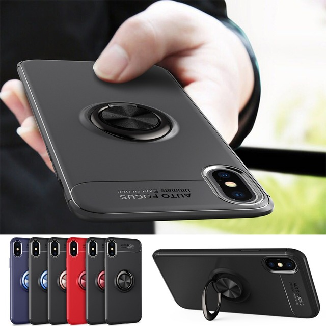 5df4566be3b6db case for iPhone XS Max X XR metal rotating finger ring holder stand TPU  cover for iPhone Xr Xs Max X case car magnetic bracket