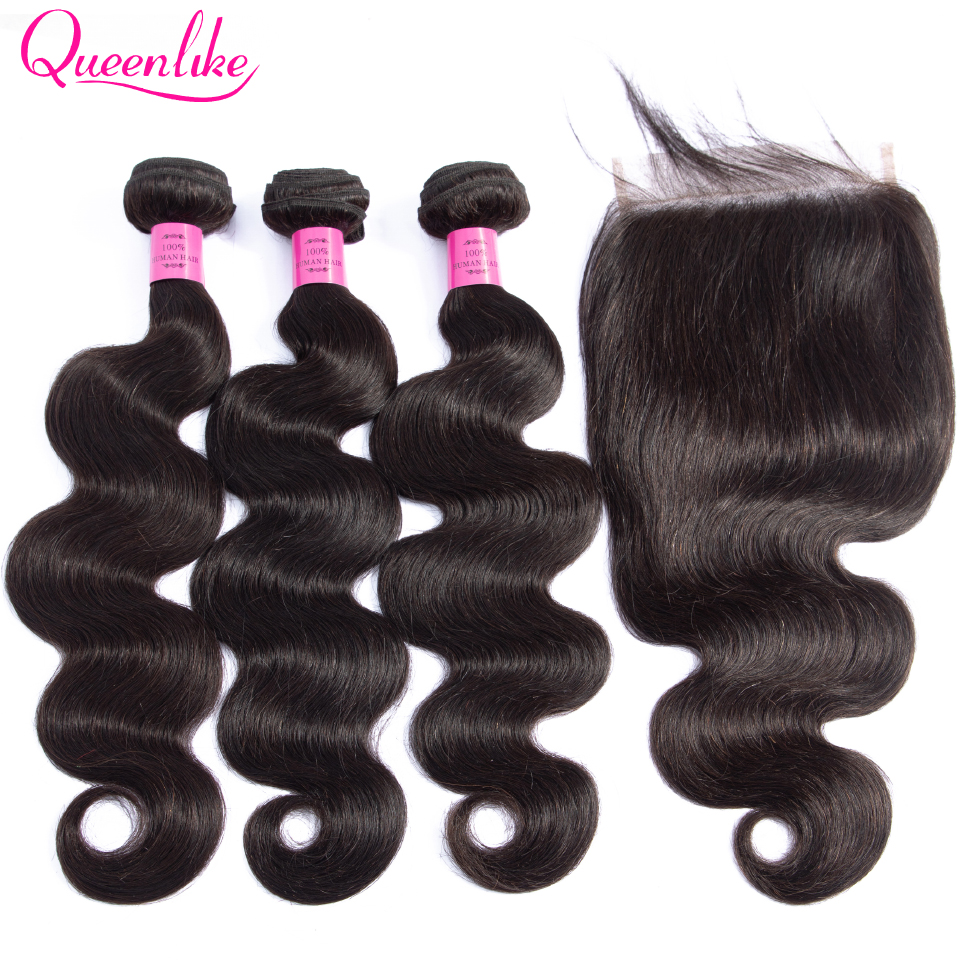 Queenlike Hair 3 Bundles Brazilian Body Wave With 6x6 Big Lace Closure Double Weft Non Remy Human Hair Bundles With Closure