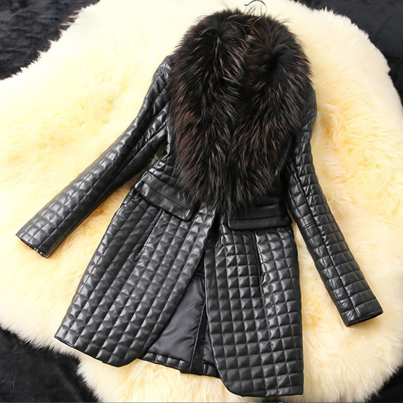2019 The fur coat is too large. The fur collar is sheep skin, imitation leather and cotton leather coat  S-6XL