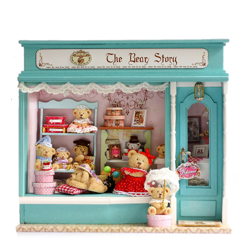 DIY Building kits Miniature Wooden Dollhouse BEAR STORE Model Cute Doll House Toy Girl Birthday Gift Valentine's Present diy miniature wooden dollhouse caribbean sea cute room with music big doll house toy for girl birthday gift christmas present