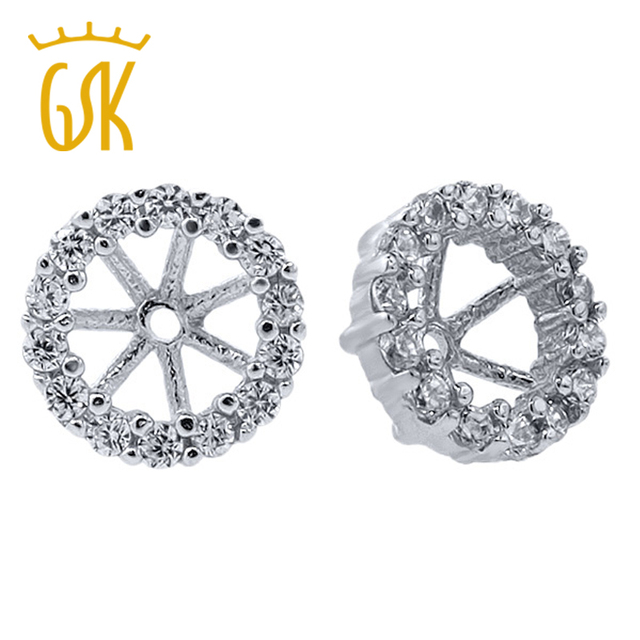GemStoneKing 925 Sterling Silver Earring Jackets for 5mm Round Studs Fashion Jewelry Fittings