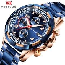 מיני פוקוס גברים של יוקרה קוורץ שעונים נירוסטה הכרונוגרף שעון יד איש כחול עמיד למים Relogios Masculino 0198G. 01