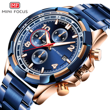 MINI FOCUS Mens Luxury Quartz Watches Stainless Steel Chronograph Wrist Watch Man Blue Waterproof Relogios Masculino 0198G.01