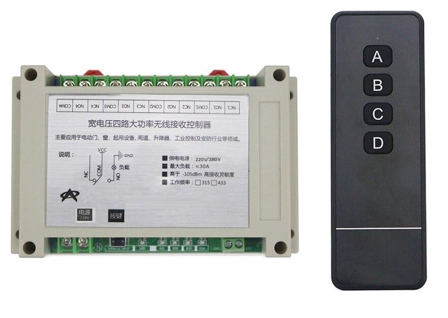 AC220V 380 V 4CH 30A relais maison intelligente RF système de contrôle à distance sans fil moteur/porte électrique apprentissage code récepteur large tension