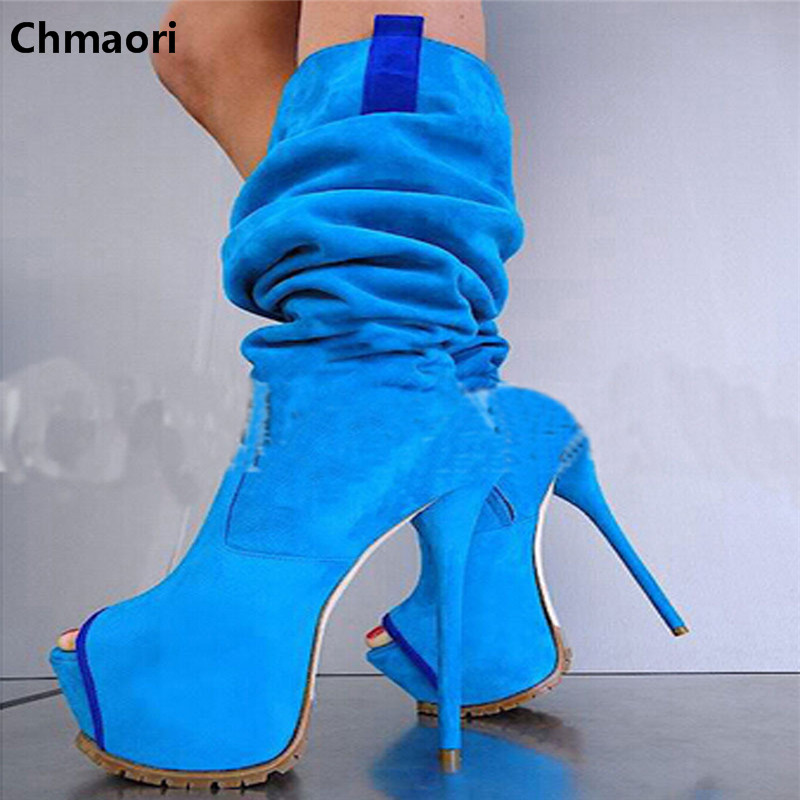 New arrival high platform boots fashion knee high boots opening toe suede leather ultra high heel botas sexy woman winter shoes new arrival brown suede leather high