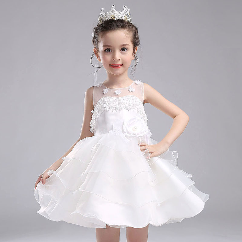 Flowers White Girl Dress Party Ball Gown Flower Girl Vestido for Wedding 2017 Kids Clothes of 3 4 6 8 10 12 14 Years RKF174038 gril flower dress multi storey white clothes stage girl performance children show clothes for dance with a pair of glove