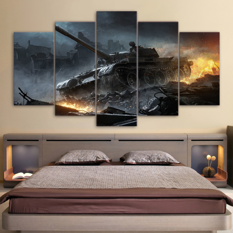 hd printed war world of tanks 5ps picture painting wall. Black Bedroom Furniture Sets. Home Design Ideas