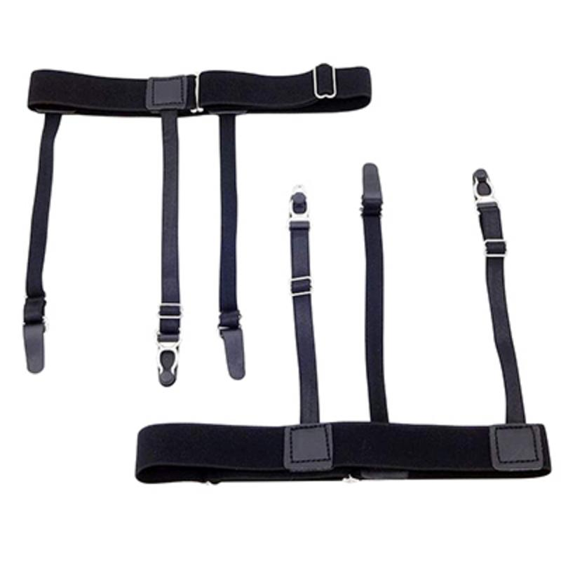 2018 New Mens Shirt Stays Garters Elastic Nylon Adjustable Shirt Holders Crease-Resistance Belt Stirrup Style Suspenders